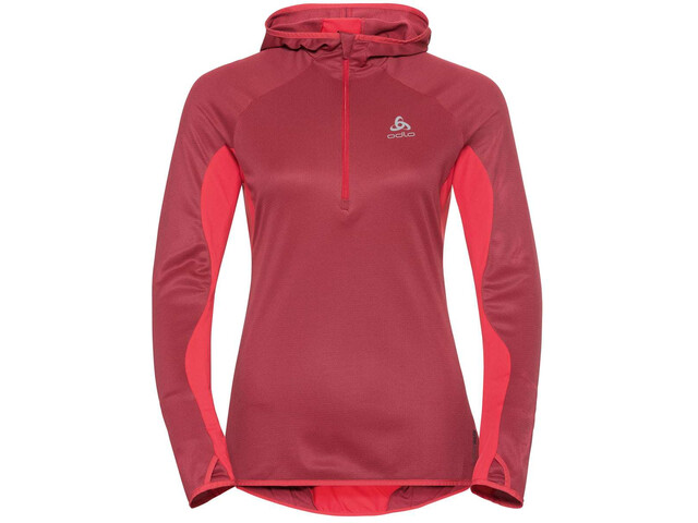 Odlo Blaze ZW Ceramiwa 1/2 Zip Hoodie Midlayer Damen rumba red-hibiscus-stripes